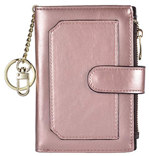 Womens Wallets RFID Small Compact Bifold Leather Card Holder Zip Pocket Keychain (Rose Gold/Coffee) ()