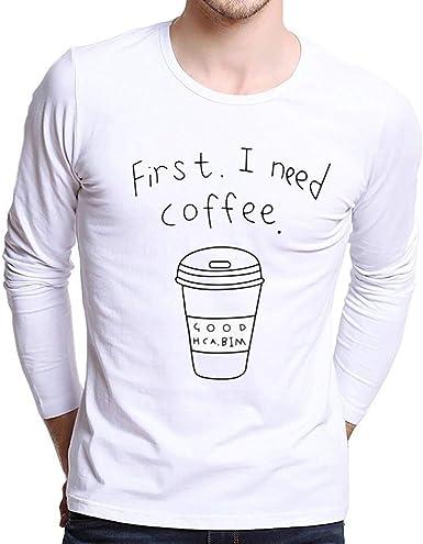 JURTEE Camiseta Manga Larga para Hombre Cuello Redondo Pullover Remera Letra Impresión Delgada Camisa Casual Top Blusa: Amazon.es: Ropa y accesorios
