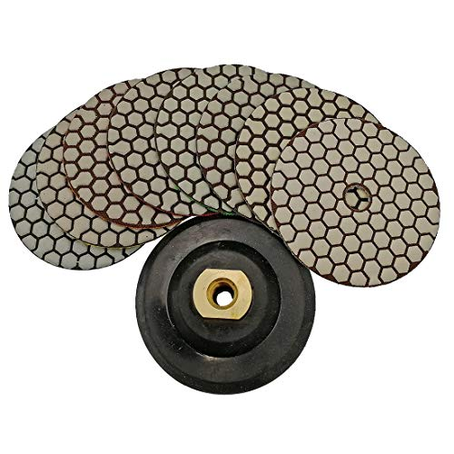 - SHDIATOOL Dry Diamond Polishing Pads 4 Inch Set of 7 Pieces Plus a Rubber Backer for Granite Marble Stone