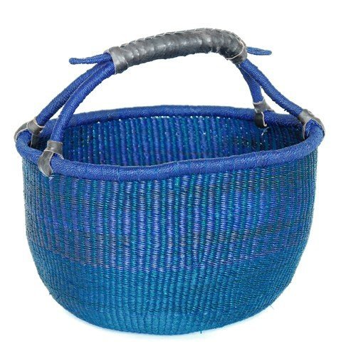 LARGE SHOPPING BASKET Ø 15 – HANDMADE GHANA BOLGA AFRICA – FAIR TRADE (Blue)