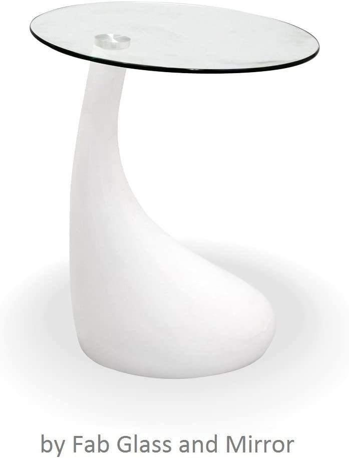 Fab Glass and Mirror Teardrop Side Table, White