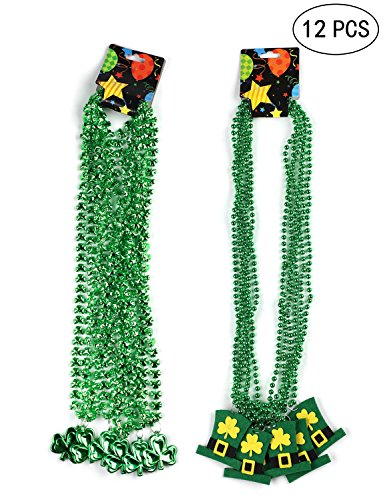 Moon Boat St. Patricks Day Shamrock Clover Green Bead Necklace - Party Favors Decorations Supplies