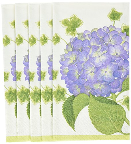 Entertaining with Caspari Hydrangea Paper Guest Towels (15 Pack), Purple