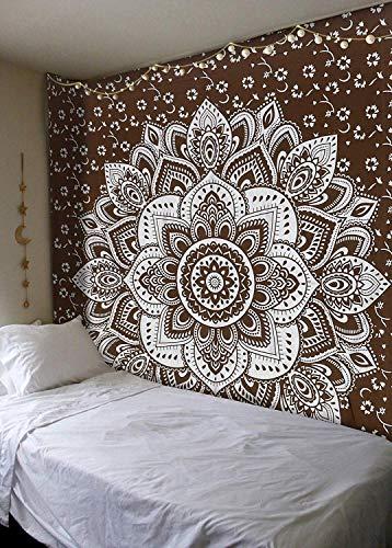 Madhu International Brown Silver Passion Ombre Mandala Tapestry, Boho Mandala Tapestry, Wall Hanging, Gypsy Tapestry, 84 X 90 inches