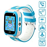 Kids Smartwatch with Games,2G Nano SIM Card, GPRS, LBS,GSM,Waterproof,Shockproof,SOS Call/Flashlight, Weather Forecast,Alarm Clock,Photo Album and Remote Camera and Voice Monitor(Blue)