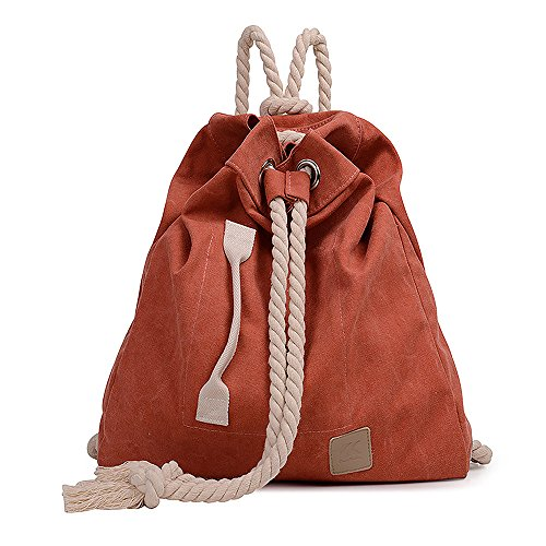 Mfeo Big Capacity Heavy Cotton Rope Drawstring Strap Canvas Backpack Daypacks