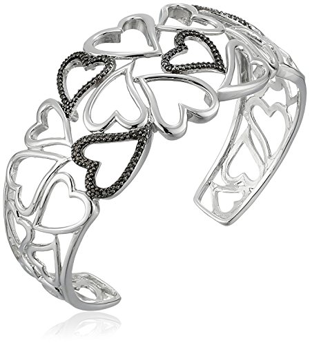 Sterling Silver Black Diamond Accent Open Hearts Cuff Bracelet, 7