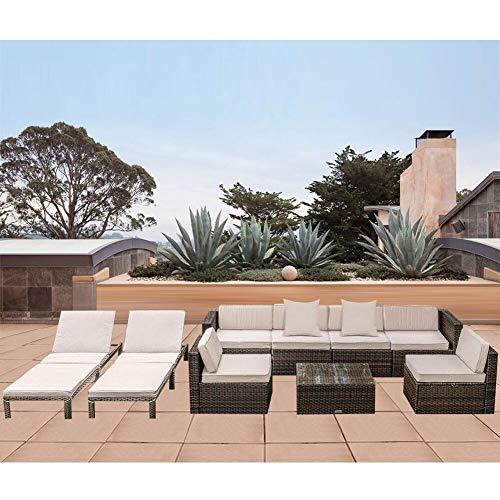 MAGIC UNION Outdoor Furniture Sectional Sofa Patio PE Rattan Wicker Cushion Cover 9 Pieces Sofa Set