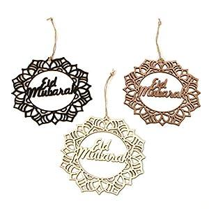 HoHome 3Pcs Islam Eid Ramadan Mubarak Decorations, Wooden Hanging Wreath Baubles,Home Ornament DIY Craft 47