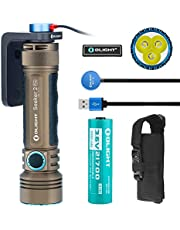Olight Seeker 2 PRO 3200 Lumens Powerful Rechargeable Flashlight, L-Dock Charging with 1x21700 5000mAh Battery, Side Switch Tactical Light for Law Enforcement Outdoors, Bundle with Olight Patch