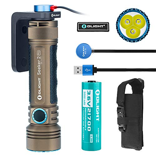 Olight Seeker 2 PRO 3200 Lumens Powerful Rechargeable Flashlight, L-Dock Charging with 1x21700 5000mAh Battery, Side Switch Tactical Light for Law Enforcement, Desert Tan Bundle with Olight Patch