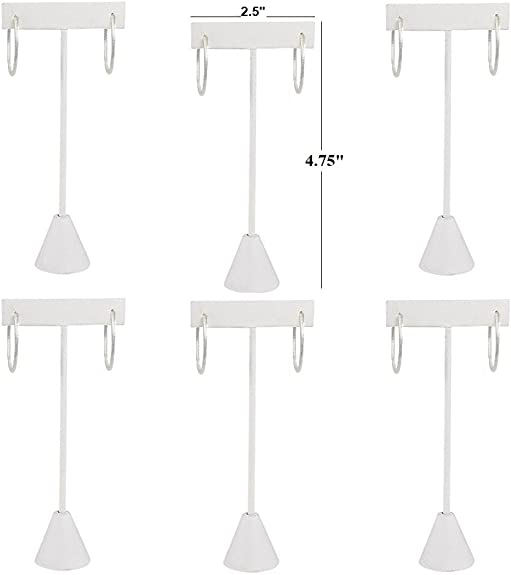 3 Earring T Stand White Leather Showcase Display 6.75