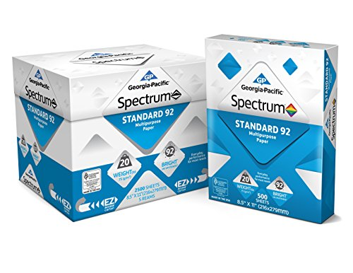 Georgia-Pacific Spectrum Standard 92 Multipurpose Paper - 8.5 x 11 Inches - 1 box of 5 packs (2500 Sheets) (991316)
