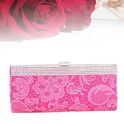Lace Handbag Party Evening Women Wallet FENICAL Party Rose Rhinestone Clutch Purse Red Flower Wedding AP5qw1x