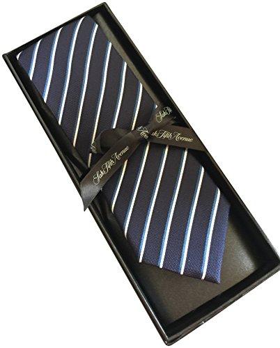 saks-fifth-avenue-striped-100-silk-mens-tie-3-wide-navy-blue