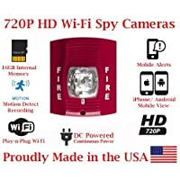 SecureGuard 720p HD WiFi Wireless IP Fire Alarm Strobe Light Hidden Security Nanny Cam Spy Camera with 16GB Memory