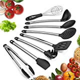 #5: Cooking Utensils, Kitchen Utensil Set Nonstick Silicone Kitchen Utensils Spatulas for Pans Essential Kitchen Tool Include Serving Spoon, Tongs, Spatula Tools, Pasta Server, Ladle, Strainer, Whisk 8PCS