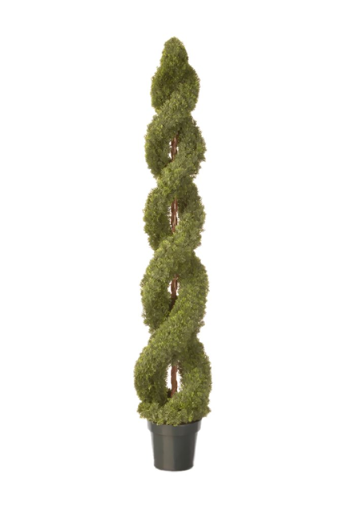National Tree 48 Inch Double Cedar Spiral Tree in 9 Inch Green Round Plastic Pot (LCDS4-702-48-1) National Tree - Drop Ship