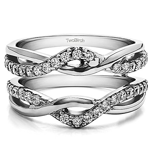 Sterling Silver Criss Cross Infinity Ring Guard Enhancer with Diamonds (G H,I2 I3) (0.23 ct. tw.)