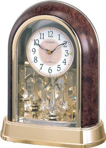 シチズン 置き時計 電波 アナログ パルドリームR656 クリスタル 回転飾り 茶 CITIZEN 4RY656-023 B000HIFCX0