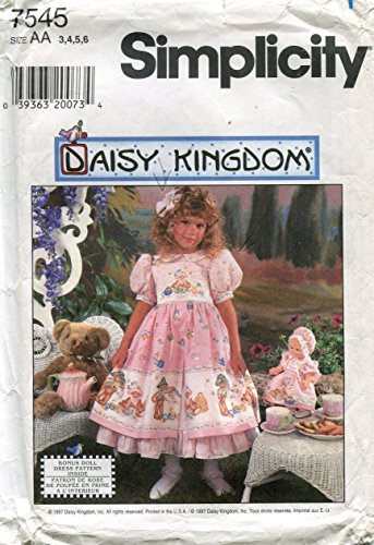 Simplicity Daisy Kingdom Pattern 7545 / 0654 Girls' Dress and Doll Dress and Hat for 13 1/2-Inch Doll, AA (3-4-5-6) (Daisy Kingdom Doll)