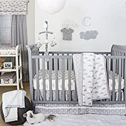 Grey and White Cloud Print Boy's 4 Piece Baby Crib Bedding Set by The Peanut Shell