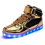 AnnabelZ LED Shoes High Top Men Women Light Up Shoes USB Charging Flashing Sneakers Gold Silver (11 B(M) US Women / 10 B(M) US Men, Gold)