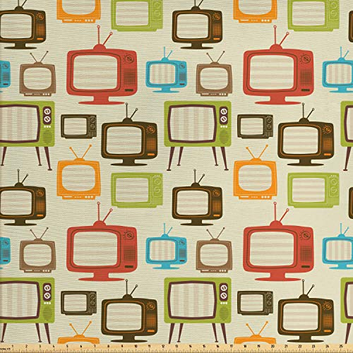 Ambesonne Vintage Fabric by The Yard, Old Televisions Pattern in Retro Colors Antenna Electronics Entertainment Nostalgic, Decorative Fabric for Upholstery and Home Accents, 1 Yard, Dark Cream (Retro Fabric Upholstery)
