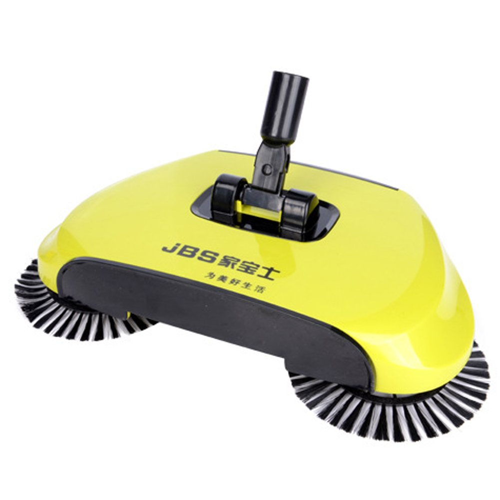 Household 360 Rotary Hand Push Sweeper Broom Without Electricity Home Use Manual Floor Dust Sweeper Yellow by Eazyhurry