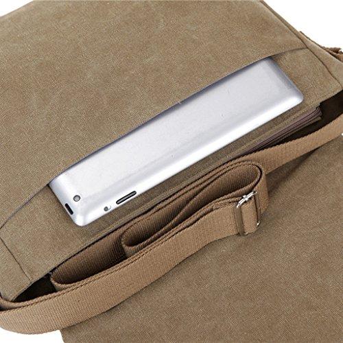 Super moderno para hombre Vintage Canvas hombro Messenger Bag Crossbody Bolsa de Trabajo/día portátil bolsa para Escuela de Negocios Traval uso diario, hombre, caqui negro