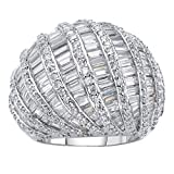 Palm Beach Jewelry Platinum-Plated Baguette-Cut and Rome Cubic Zirconia Dome Ring