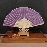 Light Purple Japanese Chinese Handmade Plain Hand Fan Folding Fan Wedding Birthday Party Favors Deco Mariage