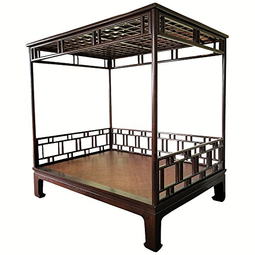 (Chinese canopy bed, lattice carved solid elm wood)