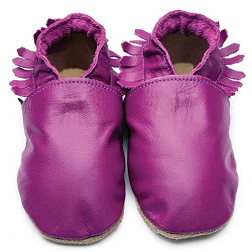 Inch Blue Girls Boys Luxury Leather Soft Sole Pram Shoes - Moccasin Grape