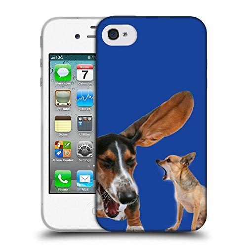 GoGoMobile Coque de Protection TPU Silicone Case pour // Q05600613 Basset chihuahua Blu // Apple iPhone 4 4S 4G