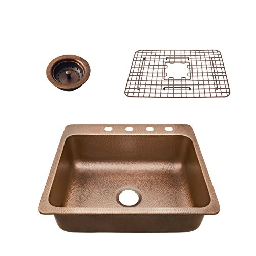 - Sinkology SK102-25AC4-WG-B  Rosa 25 In. 4-Hole  Kit With Bottom Grid And Strainer Drain Copper Kitchen Sink, 25 X 22 X 8