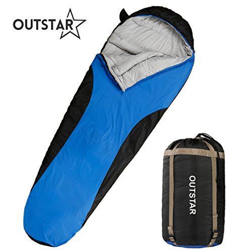 OUTSTAR Lightweight Waterproof Envelope Sleeping Bag With Compression Sack for Kids,Boys, Girls, Teens & Adults. Indoor &Outdoor Camping, Travelling, Hiking & Backpacking (Blue & Black/Right (Kids Mummy)