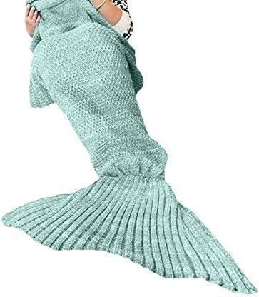 Love My Fashions®–Manta de Punto, diseño de Sirena Peces Cola Hecho a Mano Manta Playa Colcha Lapghan de Punto Cocoon sofá (190x 90cm), acrílico, Verde Menta, Talla única