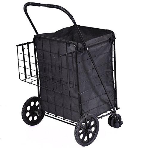 Giantex Folding Shopping Cart Jumbo Swivel Wheels Extra Basket Trolley Grocery Laundry