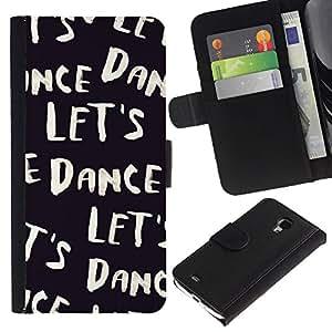 KingStore / Leather Etui en cuir / Samsung Galaxy S4 Mini i9190 / Vamos a bailar Texto Negro Blanco Viñeta