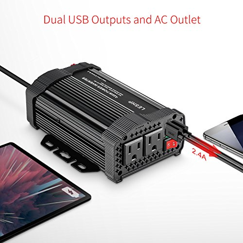 LESHP 400W Power Inverter DC 12V to AC 110V Car Adapter with 4.8A 2 USB Charging Ports by LESHP (Image #6)