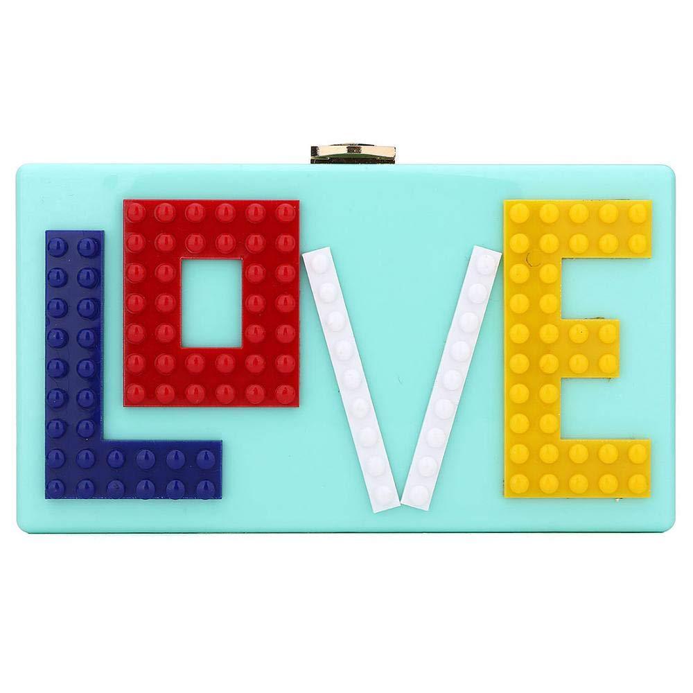 LOVE Acrylic Clutches Purse Fashion Evening Box Clutch Purse Ladies Crossbody Bag Purse Handbag for Party Travel Daily Use (Blue)