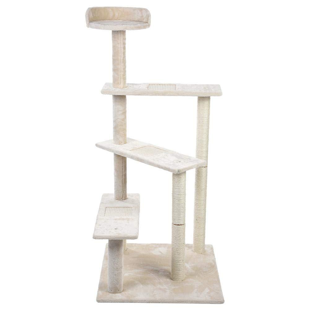 Cat Activity Tree, Cat Tree Play House Cat Tree Condo Furniture Kitten Activity Tower 4 Layers Cat Tree Kitten Climbing Scratcher Pet Play Sleep House (Beige)