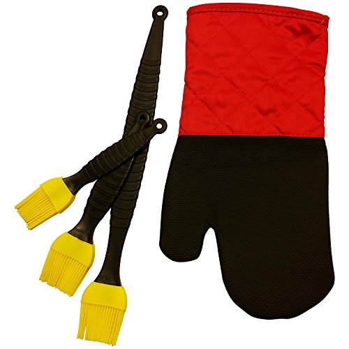 Best 2017 Thanksgiving & Christmas Gifts Set 3 Piece Professional Grade Chef Choice Silicone Brush Set and 1 Kitchen Oven Safe & Heat Resistant Mitt Neoprene