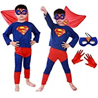 Fancy Steps Complete Superman Costume, Gloves and Mask Superhero Costume (6 Years, Multicolor)