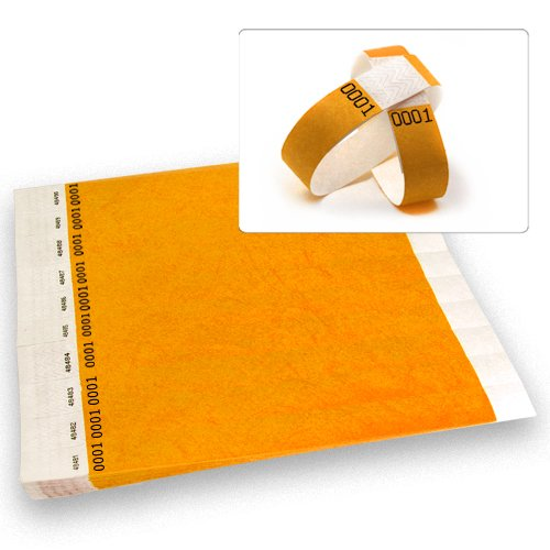Neon Orange Dup # -Wristco 3/4 Tyvek Wristbands - 500 Ct.