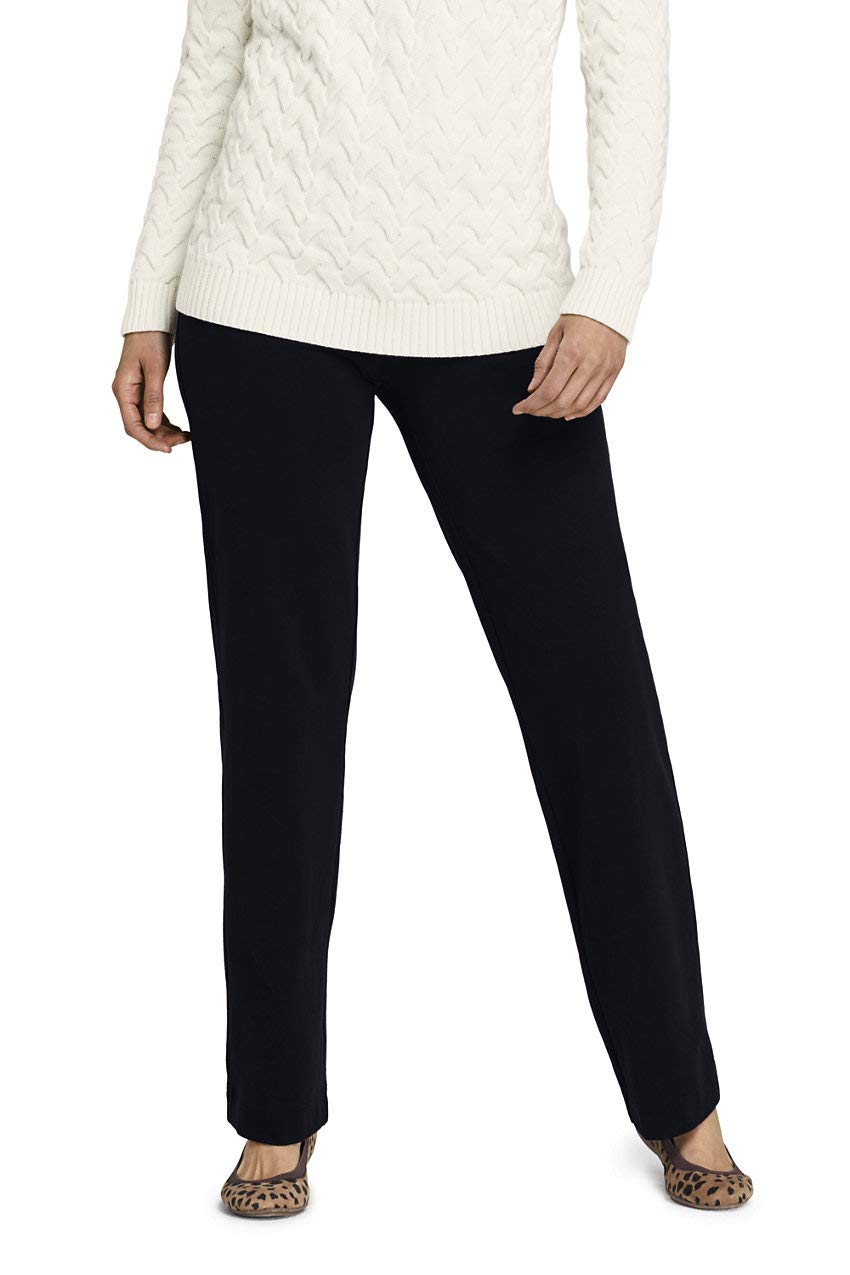Lands' End Women's Petite Starfish Mid Rise Straight Leg Elastic Waist Pull On Pants L Black by Lands' End