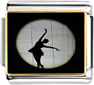 Chicforest Gold Plated Dance themes Ballet Dancer charm Bracelet Link Photo Italian Charm Bracelets