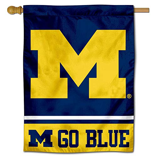 Michigan Wolverines Go Blue House Flag Banner
