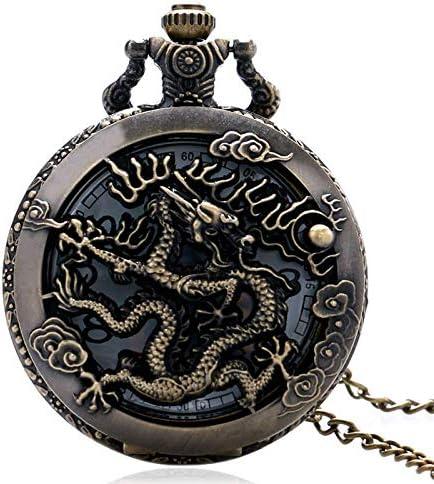 YXZQ懐中時計、ヴィンテージ時計ネックレス干支ドラゴン中空時計女性男性クォーツトンボネックレスペンダントギフト